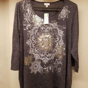Avenue dark grey and silver shirt